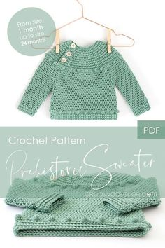 Prehistoric Sweater and Bodice Pattern PDF Crochet Pattern to make this beautiful and practical Crochet Sweater or Bodice. In this pattern you will find the directions to make the crochet bodice for a dress. Crochet Baby Sweaters, Baby Girl Sweaters, Crochet Baby Clothes, Crochet Cardigan, Knit Crochet, Crochet Pattern, Crochet Stitches, Knit Dress, Crochet Baby Cardigan Free Pattern