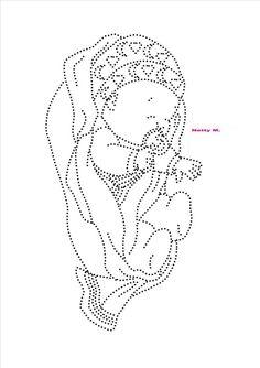 Baby in doek gestippeld Sashiko Embroidery, Paper Embroidery, Beaded Embroidery, Embroidery Patterns, Card Patterns, Stitch Patterns, Rhinestone Crafts, String Art Patterns, Sewing Cards