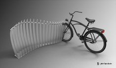 cool bike rack..wonder if a wooden fence piece from HD would work the same?  So tired of the bikes on the ground!