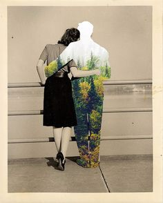 """Hug"" by Merve Ozaslan #collage #art #color #vintage #nature"