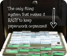 Finally a filing system that makes sense to me! Love how this keeps paperwork organized! Finally a filing system that makes sense to me! Love how this keeps paperwork organized! Organisation Hacks, Organizing Paperwork, Household Organization, File Organization, Home Office Organization, Organizing Tips, Organized Office, Organized Kitchen, Organising