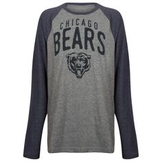 d2509ad7b Chicago Bears Youth Navy and Grey Bear Face and Text Logo Triblend Long  Sleeve