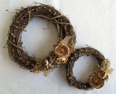 wreaths | embellished the grapevine wreaths with picks (cut apart and woven ...