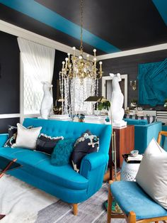 Glamorous Living Room Mixes It Up | Living Room and Dining Room Decorating Ideas and Design | HGTV