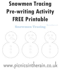 Snowmen Tracing Activity with FREE Printable - Picnics in the Rain Toddler Learning, Toddler Preschool, Toddler Activities, Preschool Printables, Free Printables, Pre Writing, Learning Through Play, Play To Learn, Winter Theme