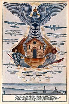 Vintage postcard of #Loreto by artist engraver Bruno da Osimo (1888-1962) #bellavallone. ❤ Cartolina in stile vintage di Loreto dell'artista incisore Bruno da Osimo (1888 - 1962). #destinazionemarche