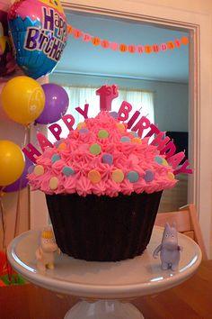 Bright and fun giant cupcake