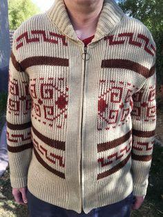 PENDLETON Mens Cowichan Sweater L Wool USA Ivory Brown Big Lebowski Dude Vintage #Pendleton #BigLebowskitheDudeFullZipCardigan