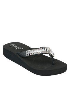 Grazie® Ladies Pizazz Black with Bling Flip Flops