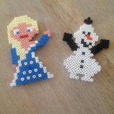 Elsa and Olaf - Frozen perler beads by jalula02