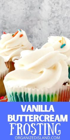 A deliciously rich and creamy Vanilla Buttercream Frosting recipe that is perfect for cupcakes, cakes and other desserts. Icing Recipe, Frosting Recipes, Cupcake Recipes, Cupcake Cakes, Dessert Recipes, Dessert Ideas, Drink Recipes, Snack Recipes, Cupcakes