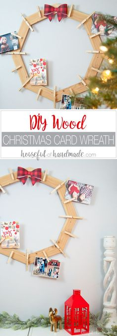 "This is the cutest way to display your Christmas cards! Build a DIY wood Christmas card wreath from 1 1x3 board. A great rustic farmhouse style Christmas card holder. | <a href=""http://Housefulofhandmade.com"" rel=""nofollow"" target=""_blank"">Housefulofhandmad...</a>"