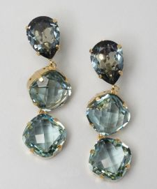 Joanna Laura Constantine light blue triple crystal drop earrings | BLUEFLY up to 70% off designer brands