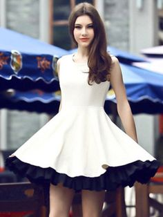 Fashionable Round Neck  Assorted Color Skater Dress Skater Dresses from fashionmia.com