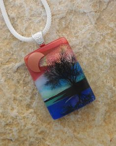 Tree of Life Pendant Dichroic Glass Tree Pendant by GlassCat