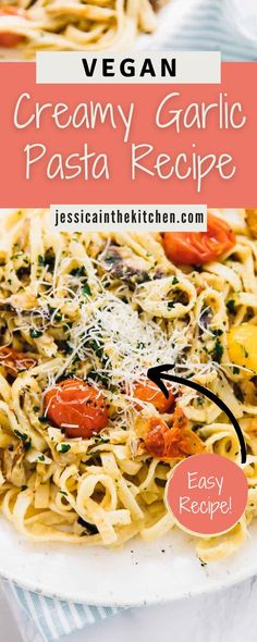 This Creamy Garlic Pasta Recipe is sure to be a new favorite dish! Making a quick and easy pasta dish is great for when you're in a hurry. This creamy garlic pasta recipe is one of my favorite go-to… More Easy Pasta Dishes, Easy Pasta Recipes, Easy Meals, Vegan Desserts, Vegan Recipes, Creamy Garlic Pasta, Vegan Casserole, Plant Based Breakfast, Make Ahead Lunches