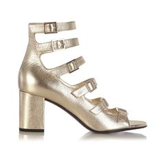 Saint Laurent Babies buckle-strap leather sandals ($597) ❤ liked on Polyvore featuring shoes, sandals, gold metallic sandals, strappy shoes, strap shoes, special occasion shoes and strappy sandals