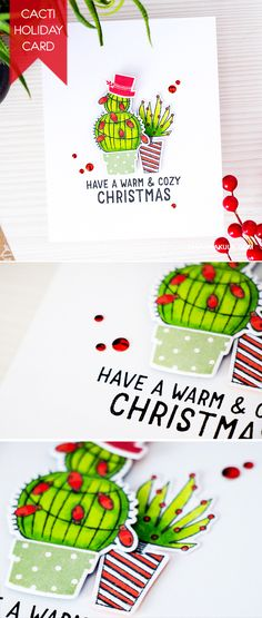 Create a Texas or Desert style holiday card with Cacti decorated with Christmas lights! For details, visit http://www.yanasmakula.com/?p=51316