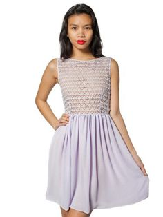 American Apparel Sleeveless Lace Chiffon Dress - Lilac / XL FREE Shipping! - http://margoclothing.pesonashop.com/american-apparel-sleeveless-lace-chiffon-dress-lilac-xl-free-shipping
