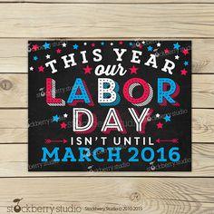 Labor Day Pregnancy Announcement Chalkboard by stockberrystudio