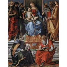 Madonna with Child among Saints 1491 Luca Signorelli (1441-1523Italian) Oil and Tempera on Board Pinacoteca Volterra Italy Canvas Art - Luca Signorelli (18 x 24)