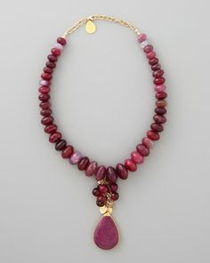 "Devon Leigh Fuchsia Agate & Ruby Quartz Necklace - Neiman Marcus  •18-karat yellow gold-plated brass with hammered finish.  •Faceted fuchsia agate beads.  •Ruby quartz teardrop.  •Necklace, 16""L.  •Drop, 2""L.  •Lobster clasp."