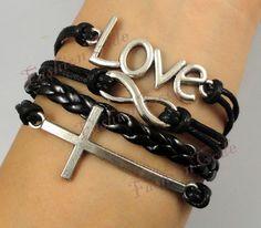 Infinity Love & Cross BraceletAntique Silver by TheGiftoftheMagi