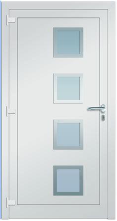 Sirrah Aluminium-Eingangstüre in weiß (ähnlich RAL 9016 verkehrsweiß). Diese Haustüre wird in der Innenansicht dargestellt! Die Sternstunden Türen sind jetzt bei Fenster-Schmidinger in Gramastetten / OÖ erhältlich!