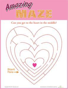 Amazing Heart Maze Worksheet