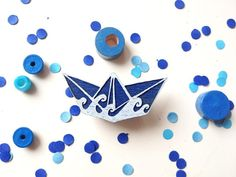Wooden Origami Paper Boat Pin / Brooch / Badge blue and white