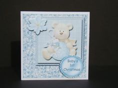8x8 Baby Boys's First Christmas Card with Bear and Decoupage in Card Gallery