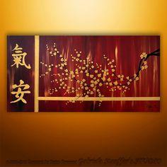 Original Modern Landscape Asian Tree Blossom Textured Painting Art by Gabriela RED Canvas Wall Art, Art Painting, Leaf Art, Tree Art, Abstract Painting, Painting, Asian Painting, Abstract, Asian Wall Art