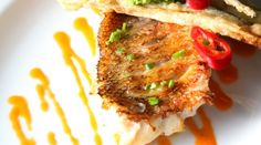 #romanticdinner #valentinesday #dinneroptions #healthydinneroptions #healthy #gourmetfood #romantic  Serenade by Francesco  Red Snapper with wilted zucchini flower, caramelized baby truss tomato and tomato mayo