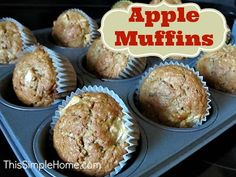 Apple Muffin Recipe.  Made with some whole wheat and little oil, these are a pretty healthy snack or breakfast treat!