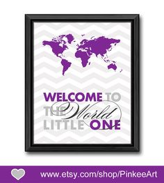 welcome to the world baby wall decor world map nursery travel theme new baby gift baby shower gift globe map theme kids wall art chevron by PinkeeArt, $11.00