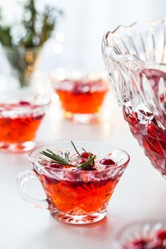 Sparkling Cranberry Rosemary Punch will elevate your holiday party to something truly special. Enjoy its herbacious flavor with your favorite appetizers.