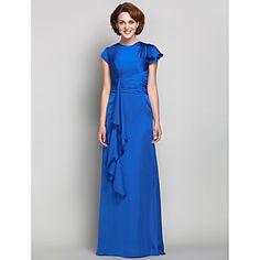 Sheath/Column Jewel Satin And Chiffon Mother of the Bride Dress (605562) – USD $ 179.99