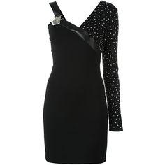 Versus studded one-shoulder dress ($743) ❤ liked on Polyvore featuring dresses, black, one sleeve dress, one shoulder dress, leather cocktail dress, genuine leather dress and studded dress