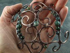 Wire work Kupfer Antik, Moos-Achat *reserviert* von KlimmBimm auf DaWanda.com