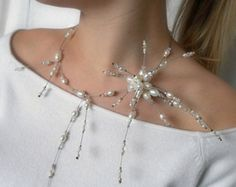 Floating necklace bridal Illusion Necklace wedding by anamarina