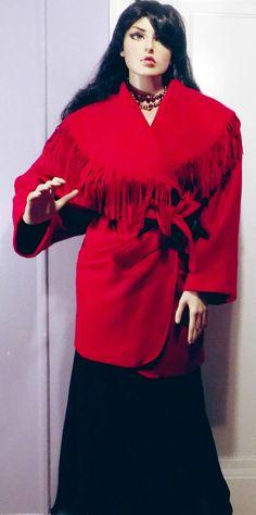 Vintage 1990s OTELLO PELLE Red 100% Wool Fringe Shawl Collar Tie Jacket XL #OTELLOPELLE