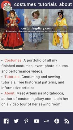 A costuming blog about cosplay, historical, and mashup costumes. Free tutorials and patterns. Renaissance, Victorian, and 18th century costumes.