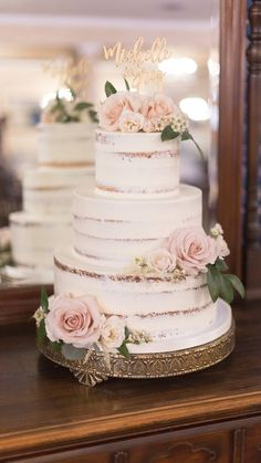 vintage semi naked wedding cake with pink rosesYou can find Wedding cake designs and more on our website.vintage semi naked wedding cake with pink roses Textured Wedding Cakes, Blush Wedding Cakes, Burgundy Wedding Cake, Buttercream Wedding Cake, Wedding Cake Rustic, Wedding Cakes With Flowers, Chic Wedding, Wedding Hacks, Rustic Cake