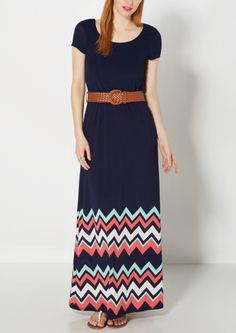 image of Mint & Pink Chevron Belted Maxi Dress
