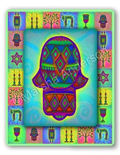 Jewish Decorated Hamsa House Blessing by JewishLifecycleGifts, $90.00
