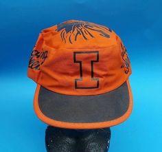 big sale a10e1 5d663 Vintage Fighting Illini University of Illinois Orange Logo Painter Style Hat  Cap