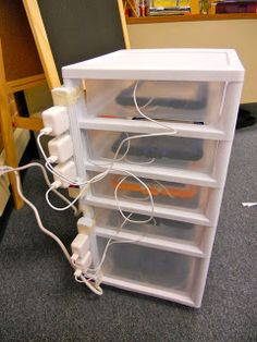 organize laptop/ipod/kindle charging station in classroom!