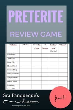 FREEEEEBIE: This is a great review game or review after learning all of the Spanish irregulars! It helps students solidify conjugations, spellings, etc. and can help them gain confidence in the preterite tense. Plus it's free!!!