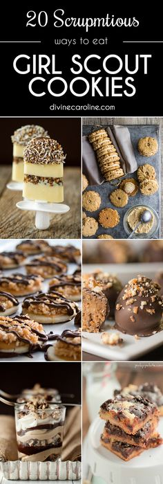We all have our favorite girl scout cookies. Whether its Thin Mints, Shortbread or even Caramel deLites, there are a bunch of ways to incorporate this tasty cookies into your dessert recipes. Shortbread Girl Scout Cookies, Gs Cookies, Thin Mint Cookies, Yummy Cookies, Baking Cookies, Recipe Using Girl Scout Cookies, Girl Scout Cookies Recipes, Cookie Desserts, Cookie Recipes
