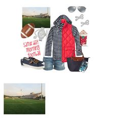 """Saturday Morning Football"" by kparperis on Polyvore featuring Current/Elliott, Zhenzi, Saint James, J.Crew, Sperry Top-Sider, Ray-Ban, Kate Spade, Longchamp, American Vintage and Pfaltzgraff"